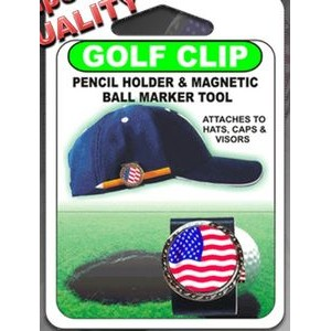 Ultimate Golf Clip & Ball Marker PENCIL HOLDER Combo in Clamshell Blister Pack