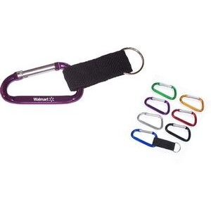 Aluminum Carabiner with Split Key Ring & Strap - 7 Cm (9 Week Production)