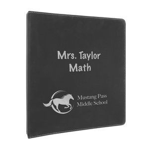 "10 1/2"" x 11 1/2"" Black/Silver Leatherette 3 Ring Binder"