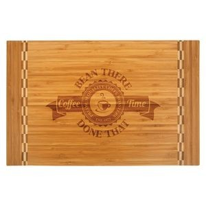 "18 1/4"" x 12"" Bamboo Cutting Board w/ Butcher Block Inlay"