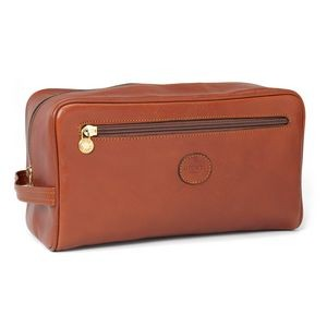 Italian Leather Toiletries Travel Case - Large