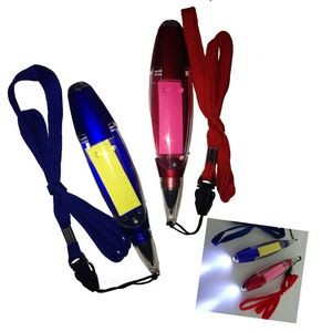 Multi Function LED Ballpoint Pen w/Note and Lanyard Multi Function LED Ballpoint Pen w/Lanyard