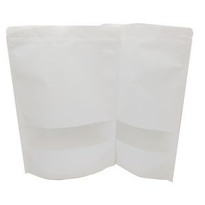 White Stand-up Reusable Sealing Kraft Paper Bag with Zip Lock and Transparent Window