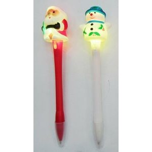 Santa Claus Flash Light Ballpoint Pen w/ 3pcs AG3 Batteries